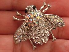 SILVER CLEAR & AURORA BOREALIS BROOCH RHINESTONE BUMBLEBEE HONEY BEE INSECT PIN