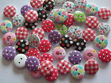 50 x Gingham/polkadot/flower/hearts 2 hole wooden buttons15mm, crafts etc.,