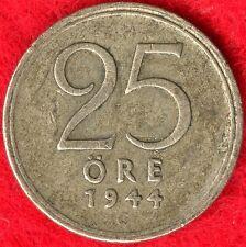 SWEDEN - 25 ORE - 1944 - 40% SILVER - 0.0298 ASW
