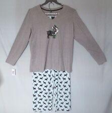 Sleep Sense Woman's PAJAMA Set Cotton Polyester Blend Gray Dog Print XL NWT $58
