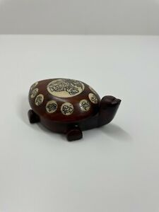 Japanese wooden turtle carving with inlay and compass collectors item