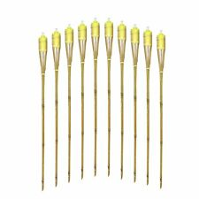 "Mr.Garden Bamboo Torches  Set of 10 Includes Metal Oil Canisters 48"" Long yellow"