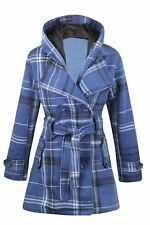 New Womens Button Check Hood Coat Hooded Jacket Fleece Belted Ladies Size UK8-14