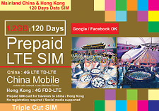 CHINA HONG KONG 1.2GB 4G LTE 120 DAYS DATA PREPAID SIM BY CHINA MOBILE MULTIBYTE