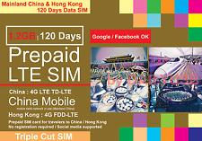 CHINA HONG KONG 1.2GB 4G LTE 120 DAYS DATA PREPAID SIM BY CHINA MOBILE MULTIBYTE