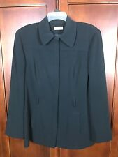 ANN TAYLOR Women Black Long Blazer Size 14 Button Suit Jacket