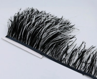 Black White Ostrich Feather Fringe Ribbon Trim Price for 30cm DIY Craft Flytying