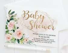 10 PERSONALISED BABY SHOWER INVITATIONS - FLORAL ROSE PINK BLUSH GOLD