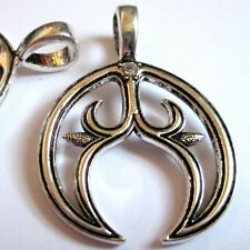 5 LUNULA CRESCENT MOON Rhinestone Lunitsa Charm Talisman 29x39 Slavic Symbol