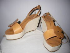 ROBERT CLERGERIE FLOWER TAN LEATHER PLATFORM STRAPPY WEDGE SANDALS 35.5 5.5 6