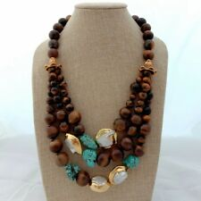 20'' 3 Strands White Keshi Pearl Tigers Eye Turquoise Necklace