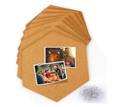 8PCS Hexagon Cork Board Tiles Self Adhesive Wall Bulletin Photo Boards + 40 Pins