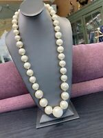 "1950's Graduated 30"" Extra Large White  Quality Faux Pearl  Strand Necklace"
