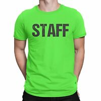 Neon Green Staff T-Shirt Front & Back Print Mens Event Shirt Tee