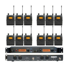 Dual Channels UHF Wireless In ear Monitor System Inear Earphones w/12 Receivers