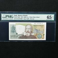 1976 Italy 2000 Lire, Pick # 103b, PMG 65 EPQ Gem Uncirculated