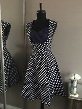 Navy Blue Vintage Spot Rockabily 50's Party Dress Size 12