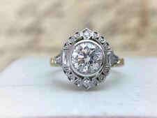 Ring In 14K White Gold Over 3Ct Round Moissanite Art Deco Wedding Engagement