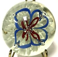 Vintage Hand Crafted Art Glass Paperweight Red White Blue Floral Flower