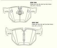 DB1694 QFM ETZI REAR AXLE BRAKE PADS TO SUIT BMW X5 X6 5 & 8 SERIES