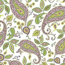 By 1/2 Yard Fabric ~ Devon Green & Purple Paisley on White ~ Quilting Treasures