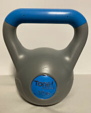 Tone Fitness, 10 Lb Vinyl Kettle-ball Grey And Blue Great Condition Used!