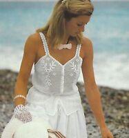 "Ladies Crochet Summer Top Pattern 32-40"" Perle 8 cotton 876"