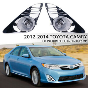 Fit 2012-2014 Toyota Camry Chrome Driving Fog Lights Lamp w/Bulb&Wiring