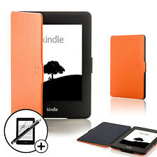Leather Orange Smart Case for Amazon Kindle Paperwhite 2015 + Screen Prot Stylus