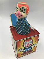 Vintage 1971 Mattel Jack In The Music Box Tin Clown Toy