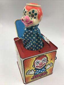 Vintage 1971 Mattel Jack In The Music Box Tin Clown Toy