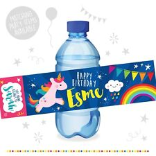 10 Personalised UNICORN Birthday Party Water Bottle Label Stickers Rainbow