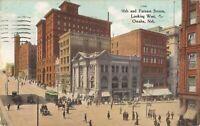 Omaha, NEBRASKA - 16 & Farnam Streets - 1909 - trolley, old cars