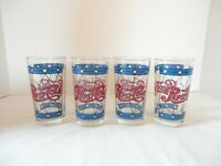 Vintage Pepsi Cola Tiffany Style Stained Glass 12oz Drinking Glasses Set of 4