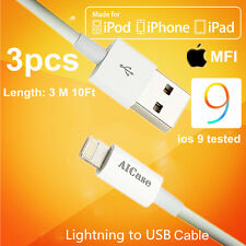 3x10FT AICase Certified Apple iPhone MFI Lightning Sync Data Cord Cable Charger