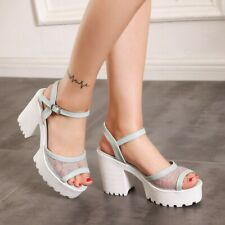 Womens Slingback Sandals Ankle Strap High Heels Peep Toe Buckle Platform Shoes