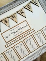 Framed A3 rustic wooden bunting design wedding table plan / seating plan