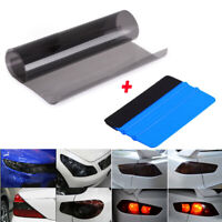 Gloss Light Black Smoke Vinyl Film Tint Headlight Taillight Wrap Cover Universal