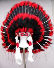 Genuine Native American Navajo Indian Headdress 36 inch BLACKHAWK red & black
