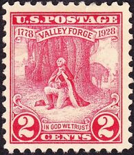 US - 1928 - 2 Cents Carmine Rose Washington at Valley Forge Issue #645 Mint F-VF