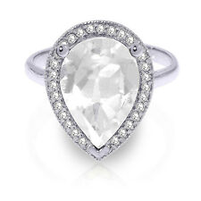 5.61 ct Platinum Plated 925 Sterling Silver Ring Natural Diamond White Topaz