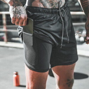 Mens 2 in 1 Sport Gym Running Shorts With Pockets Quick Drying Breathable CasuaP
