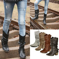 Women's Mid Calf Cowboy Cowgirl Slouch Boots Pull on Western Style Riding Boots