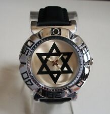 MEN SILVER FINISH LEATHER BAND 6 POINT STAR FASHION CASUAL WATCH