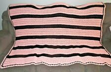 "Pink and Black Handmade Crocheted Blanket/Afghan/Throw-46"" x 60"""