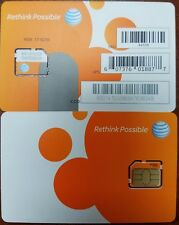 AT&T MICRO 3FF SIM Card • GSM 4GLTE • NEW Genuine OEM • Prepaid or Contract.