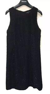 NEW M&S Limited Edition Eyelash Knit Fitted Lightweight Glitter Dress Black UK12