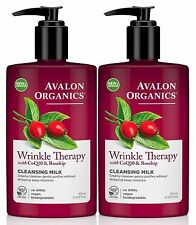 AVALON ORGANICS Wrinkle Therapy with CoQ10 & Rosehip CLEANSING MILK (Pack of 2)