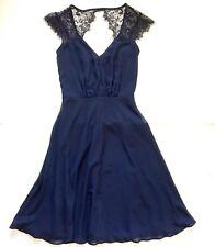 Elise Ryan Navy Blue Lace Keyhole Dress Fit Flare V-Neck Womens Size XS New A10