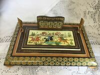 Chinese Inlaid & Lacquered Wooden Desk Tidy Hand Painted Figures On Horseback